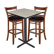 "Regency 30"" Square Cafe Table- Maple & 2 Zoe Cafe Stools- Cherry/Black (TCB3030PL95)"