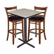 "Regency 30"" Square Cafe Table- Maple & 2 Zoe Cafe Stools- Cherry/Black (TCB3030PL95)"