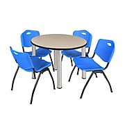 "Regency Kee 36"" Round Breakroom Table- Beige/ Chrome & 4 'M' Stack Chairs- Blue (TB36RDBEPCM47BE)"