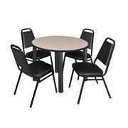 """Regency Kee 36"""" Round Breakroom Table- Beige/ Black & 4 Restaurant Stack Chairs- Black (TB36RDBEPBK29BK)"""