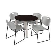 "Regency Kee 36"" Round Breakroom Table- Mocha Walnut/ Chrome & 4 Zeng Stack Chairs- Grey (TB36RDMWPCM44GY)"