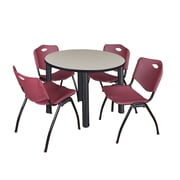 "Regency Kee 36"" Round Breakroom Table- Maple/ Black & 4 'M' Stack Chairs- Burgundy (TB36RDPLPBK47BY)"
