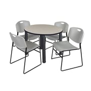 "Regency Kee 36"" Round Breakroom Table- Maple/ Black & 4 Zeng Stack Chairs- Grey (TB36RDPLPBK44GY)"