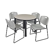 """Regency Kee 36"""" Round Breakroom Table- Maple/ Black & 4 Zeng Stack Chairs- Grey (TB36RDPLPBK44GY)"""