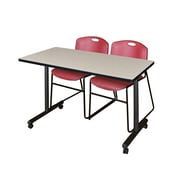 "Regency 48""L x 24""W  Kobe Mobile Training Table- Maple & 2 Zeng Stack Chairs- Burgundy (MKCC4824PL44BY)"