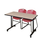 "Regency 48""L x 24""W  Kobe Mobile Training Table- Beige & 2 Zeng Stack Chairs- Burgundy (MKCC4824BE44BY)"