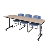 "Regency 84""L x 24""W  Kobe Mobile Training Table- Beige & 3 Zeng Stack Chairs- Blue (MKCC8424BE44BE)"