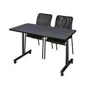 "Regency 48""L x 24""W  Kobe Mobile Training Table- Grey & 2 Mario Stack Chairs- Black (MKCC4824GY75BK)"