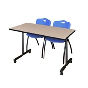 "Regency 48""L x 24""W  Kobe Mobile Training Table- Beige & 2 'M' Stack Chairs- Blue (MKCC4824BE47BE)"