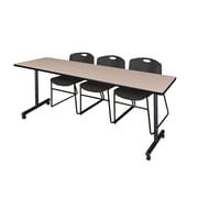 "Regency 84""L x 24""W  Kobe Mobile Training Table- Beige & 3 Zeng Stack Chairs- Black (MKCC8424BE44BK)"
