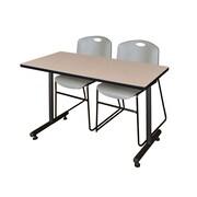 """Regency 48""""L x 24""""W  Kobe Training Table- Beige & 2 Zeng Stack Chairs- Grey (MKTR4824BE44GY)"""