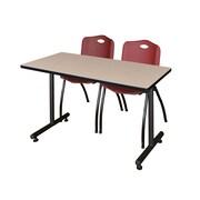 "Regency 48""L x 24""W  Kobe Training Table- Beige & 2 'M' Stack Chairs- Burgundy (MKTR4824BE47BY)"