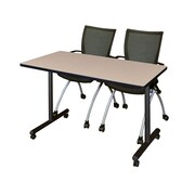 "Regency 48""L x 24""W  Kobe Mobile Training Table- Beige & 2 Apprentice Chairs- Black (MKCC4824BE09BK)"