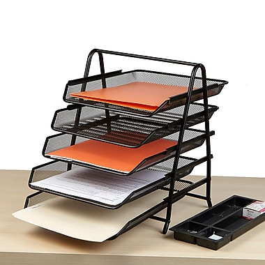 Mind Reader 5 Tier Steel Mesh Paper Tray Desk Organizer, Black (5TPAPER-BLK)