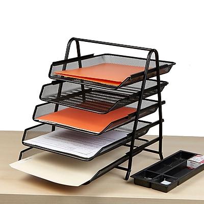 Mind Reader 5 Tier Steel Mesh Paper Tray Desk Organizer, Black (5TPAPER-BLK)