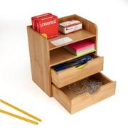 Mind Reader 4-Tier Desk Organizer With 2 Drawers, Brown (Miniorg-Brn)