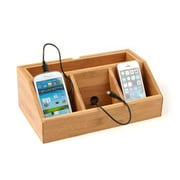 Mind Reader 3 Component Bamboo Charging Station and Desk Organizer, Brown (C3DOCK-BRN)