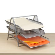 Mind Reader 3 Tier Steel Mesh Paper Tray Desk Organizer, Silver (3TPAPER-SIL)