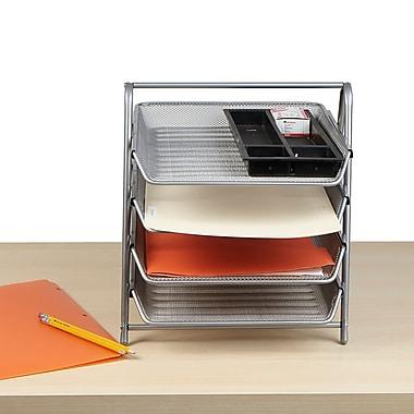 Mind Reader 4 Tier Steel Mesh Paper Tray Desk Organizer, Silver (4TPAPER-SIL)