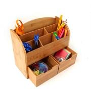 Mind Reader 6 Compartment with 2 Drawers Desk Organizer, Brown (BMCOMP8-BRN)