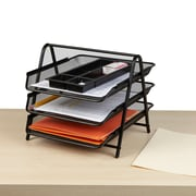 Mind Reader 3 Tier Steel Mesh Paper Tray Desk Organizer, Black (3TPAPER-BLK)
