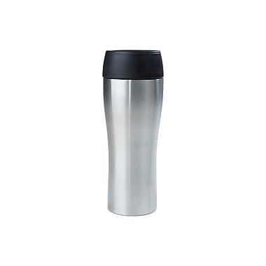Mind Reader Stainless Steel Double Walled Travel Mug 14 oz., Silver (PUSHMUG-SIL)