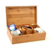 Mind Reader - Coffre de rangement pour thé en bambou à 8 compartiments, brun (Btbox-Brn)