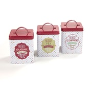Mind Reader Tin 3-Piece Canister Set, Multi-White, 3/Set (Cantin3-Red)
