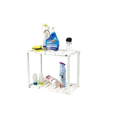 Mind Reader 2 Tier Under the Sink Shelf for Cleaning Supplies, White (USINK-WHT)