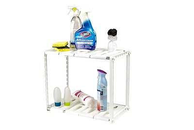 Mind Reader 2 Tier Under the Sink Shelf for Cleaning Supplies, White (USINK-WHT)