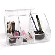 Mind Reader - Organisateur à cosmétiques en acrylique avec rabat, transparent (Makeup7-Clr)