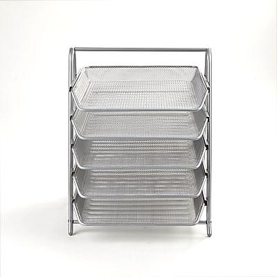 Mind Reader 5 Tier Steel Mesh Paper Tray Desk Organizer, Silver (5TPAPER-SIL)