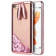 Rose Gold Sparkling Waterfall Bunny Ear Stand Case for iphone 7