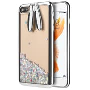 Silver Sparkling Waterfall Bunny Ear Stand Case for iphone 7 Plus