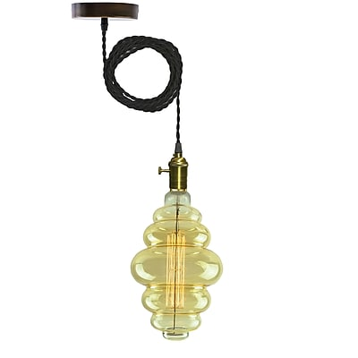 Bulbrite Dimmable Pendant Hardwire BH 60W 2200K Grand Nostalgic Antique Amber Pendant Kit, 2 Pack (810035)