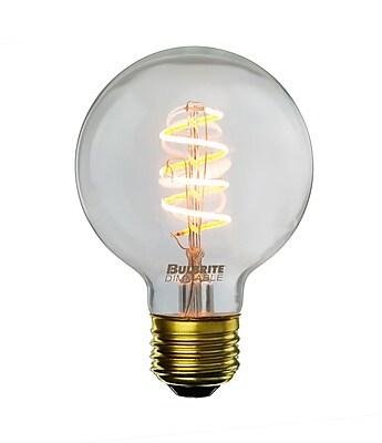 Bulbrite LED G25 4W Dimmable Nostalgic 2200K Antique Amber, Light Bulb, 2 Pack (776512)