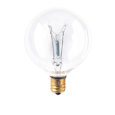 Bulbrite Incandescent (INC) G16.5 15W Dimmable Clear 2700K Warm White Light Bulb, 40 Pack (311015)