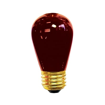 Bulbrite Incandescent (INC) S14 11W Dimmable Transparent Red Light Bulb, 25 Pack (701711)
