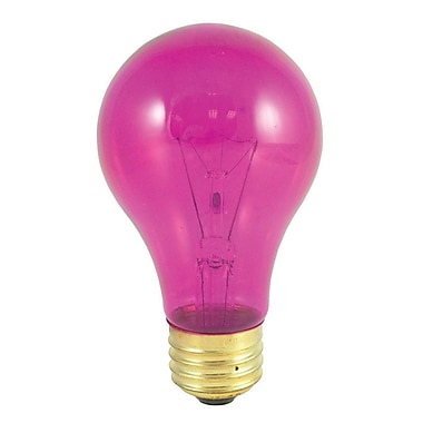 Bulbrite Incandescent (INC) A19 25W Dimmable Party Bulb Transparent Pink Light Bulb, 18 Pack (105625)