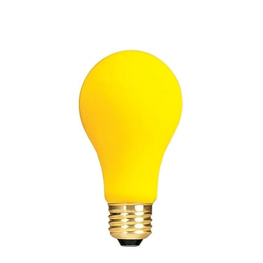 Bulbrite Incandescent (INC) A19 100W Dimmable Yellow Bug Light Bulb, 12 Pack (103100)