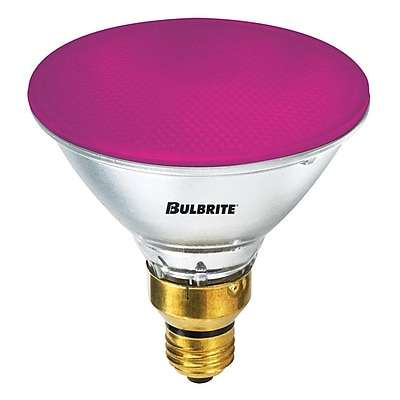 Bulbrite Halogen PAR38 90W Dimmable 2900K Pink Light Bulb, 2 Pack (683906)