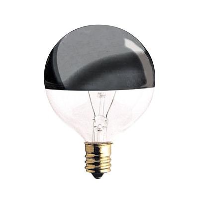 Bulbrite Incandescent (INC) G16.5 25W Dimmable Half Chrome 2700K Warm White Light Bulb, 25 Pack (712312)