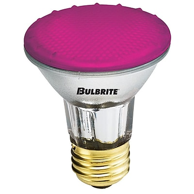 Bulbrite Halogen PAR20 50W Dimmable 2900K Pink Light Bulb, 4 Pack (683506)