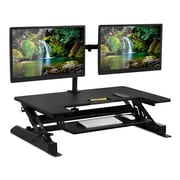 Mount-It! Sit Stand Workstation Standing Desk Converter (Sit-Stand + Dual Monitor Mount)
