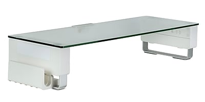 Mount-It! Glass Computer Monitor Stand with Brushed Aluminum Legs, 66Lbs Capacity