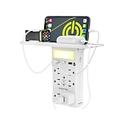 Overtime 6-Outlet plus USB Surge Protector with Apple MFi Cable, 1200 Joules, White (OTWP6O2U1TCCB)