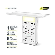 Overtime 6-Outlet plus USB Surge Protector, 1200 Joules, White 2/Pack (OTWP6O2U1TCX2)