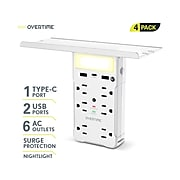 Overtime 6-Outlet plus USB Surge Protector, 1200 Joules, White 4/Pack (OTWP6O2U1TCX4)