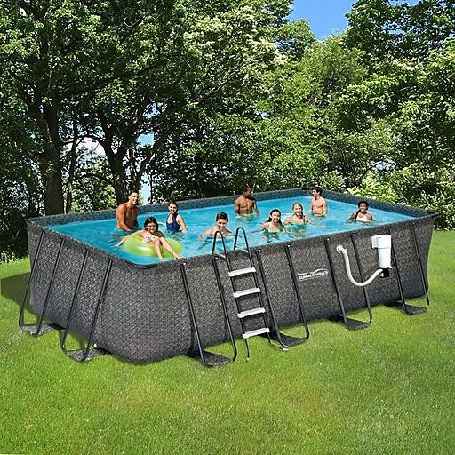 Summer Waves Elite Dark Wicker 9 X 18 Rectangular Metal Frame Pool