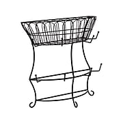 Mind Reader Wire Mesh Countertop Mug Rack with Pegs and Upper Basket, Black (PTREETOP-BLK)